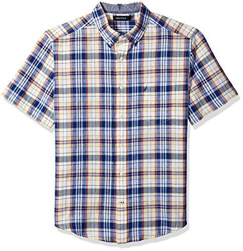 Nautica Herren Short Sleeve Classic Fit Plaid Linen Shirt Button Down Hemd, Französische Vanille, XX-Large
