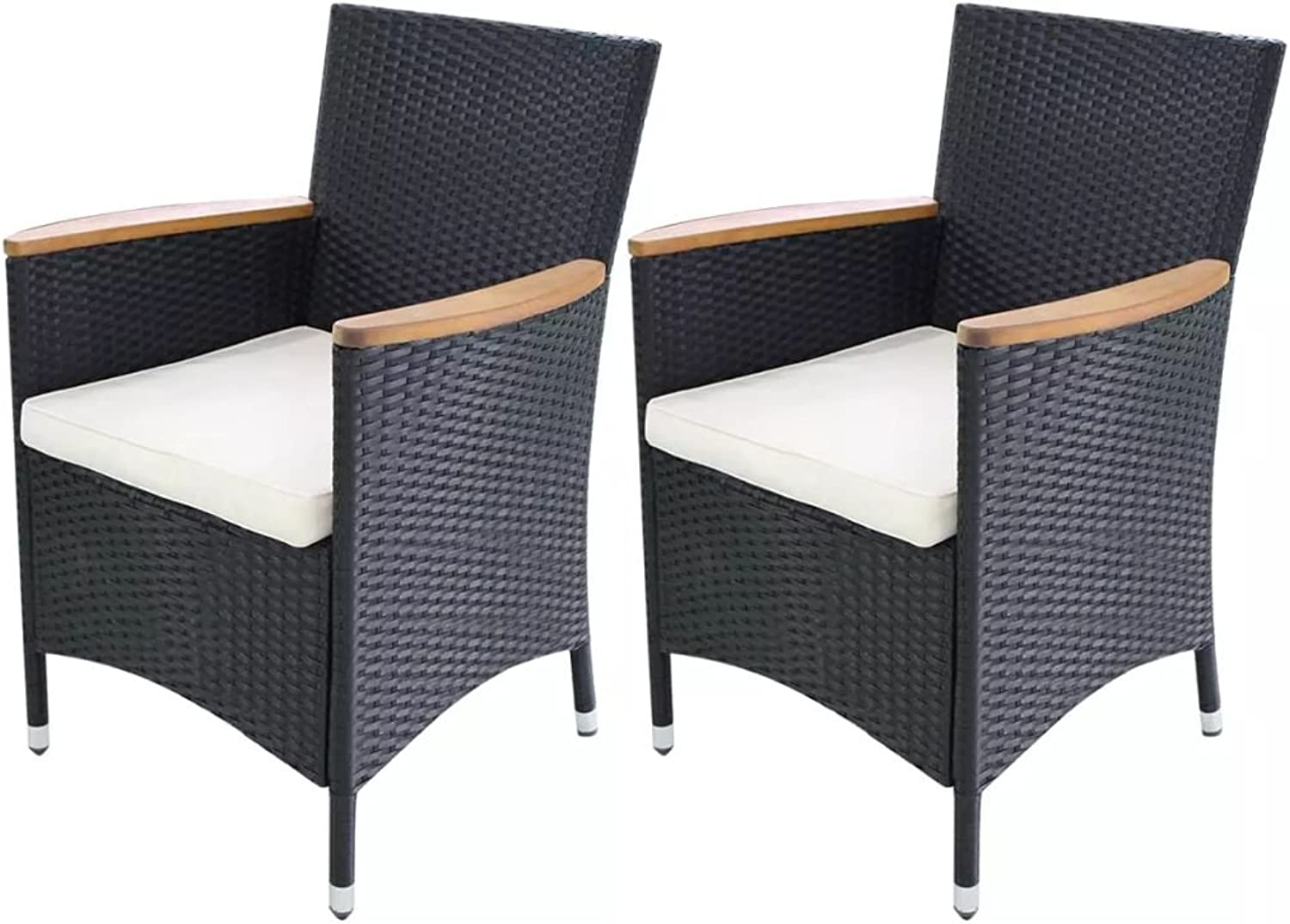 Festnight Garden Chairs 2 pcs Dining Chairs with Removable Cushions Black Poly Rattan 59x60x88 cm