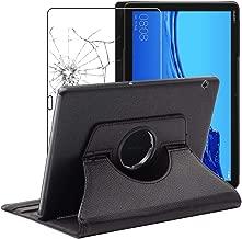 ebestStar - Compatibile Cover Huawei MediaPad T5 10.1 Custodia Protezione Pelle PU con Supporto Rotazione 360, Nero + Pellicola Vetro Temperato [T5 10.1: 243 x 164 x 7.8mm, 10.1'']