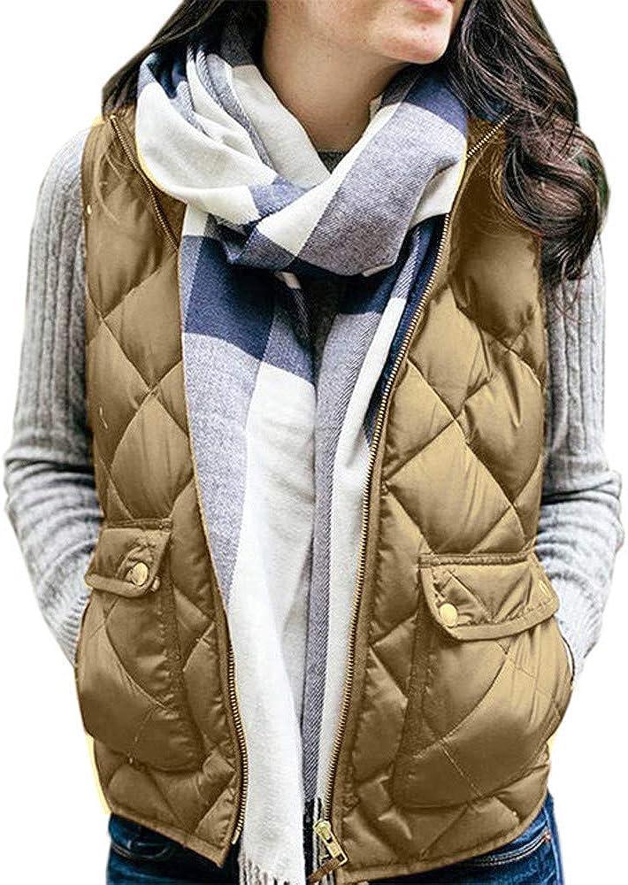 BBesty Women Vest Soft Cotton Lightweight Stand Collar Zip Up Quilted Sleeveless Gilet with 2 Pockets Winter Warm Khaki