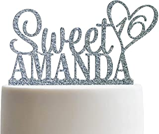 Personalized Sweet Sixteen Cake Topper 16th Birthday Cake Topper Customized Name Quincea–era Cake Topper | Glitter Cake Toppers