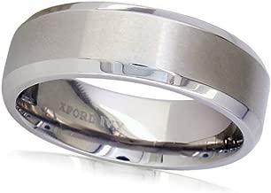 Oxford Ivy 7mm Beveled Edge Mens Comfort Fit Titanium Plain Wedding Band (Available Ring Sizes 7-12 1/2)