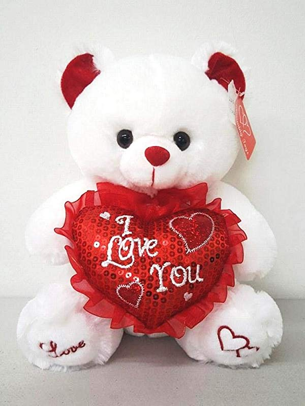 White 12 Plush Teddy Bear With I Love You Heart Pillow