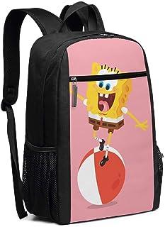 BUGKHD Mochila de viaje para ordenador portátil, con diseño de Bob Esponja y cuadrados, con bola, universidad, escuela, bo...
