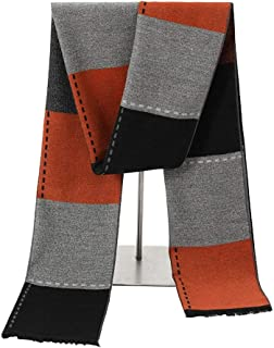 Scarves for men Men Wool Winter Scarf Plaid Stripes Long Cashmere Scarves With Tassel Scarf (Color : Orange, Size : ONESIZE)