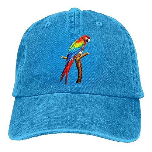 Hoswee Unisex Kappe/Baseballkappe, Parrot Denim Baseball Caps Hat Adjustable Cotton Sport Strap Cap For Men Women