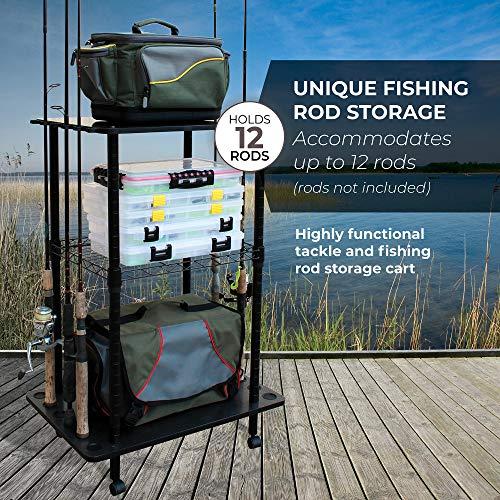 Rush Creek Creations 12 Fishing Rod Storage Tackle Cart - Durable...