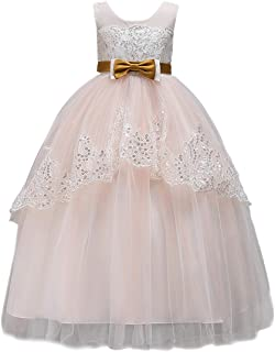 Zhhlaixing Girl Lace Back Dress Bridesmaid Tutu Tulle Flower Pageant Princess Belted Wedding Party