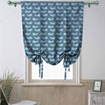 Tie Up Curtain, Machine Washable Hinder Light Window Curtain for Living Room Whale Cartoon Style Cachalot Fish Silhouettes in Blue Tones with Little Dots, Slate Blue Pale Blue48 x 64