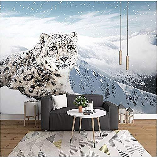 Muurschilderingen 3D behang sneeuw luipaard dier luipaard sneeuw berg 3D muur muurschildering woonkamer bank tv muur slaapkamer behang behang grijs muur sticker rand zelfklevende baksteen badjas (W)350cm×(h)256cm