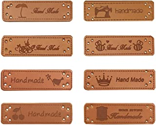 Juland 40PCS PU Leather Label Clothing Hand Made Label Handmade Embossed Tag with Holes Embellishment Knit DIY Accessories for Jeans Bags Shoes Hat – 1.5x5cm