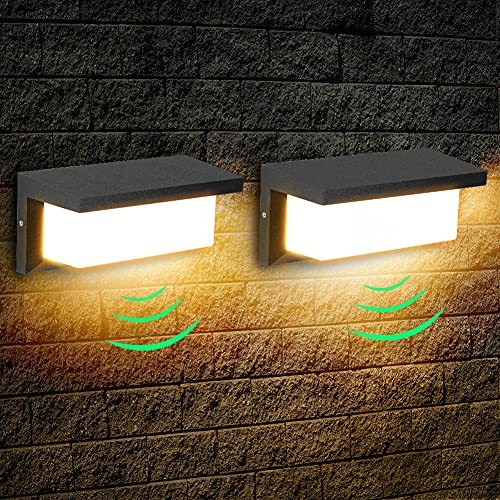 2 Pezzi Applique da Esterno LED 18W con Sensore Radar Lampada da Parete Impermeabile IP65 per Balcone, Giardino, Veranda, Via, Garage, Nero, Bianco Caldo
