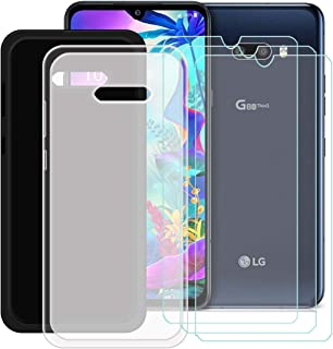 YZKJ [2 stycken fodral för LG G8X ThinQ Cover svart + halvtrasparent mjukt silikon skyddsfodral TPU skal fodral + 3 x pans...
