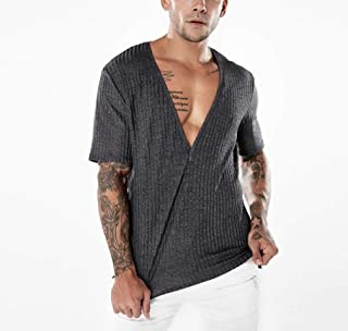 Energy Men's Solid Deep V-Neck Ribbed Short Sleeve Pullover Tshirt Top Dark Grey S