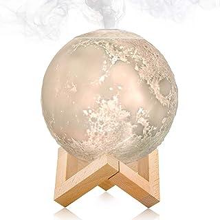 Lámpara de luna 3D de escritorio LED con función de humidificador de niebla fría, con 3 tonos de luz, control táctil e int...
