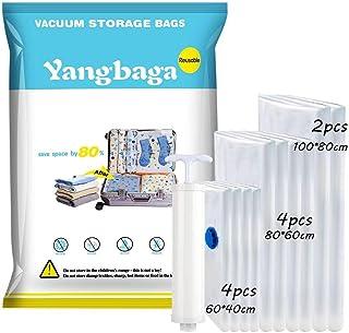 Yangbaga Bolsas de Almacenaje al Vacío 10 Unidades Bolsas Vacio Ropa(3*Jumbo 100x80cm+ 3*Grandes 80x60cm+4 * 0x60cm) Bolsas Envasar al Vacio,Bolsas de Compresion Incluyen Bomba de Aire