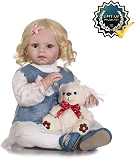 Zero Pam Reborn Doll Girl Doll That Look Real with Blonde Hair, Toddler Newborn Birthday Gifts for Kids, Lifelike Silicone Vinyl Dolls 28 inch 70cm