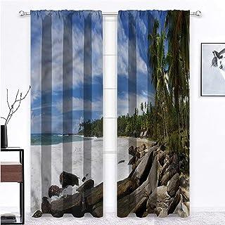 SINXY&CASE Blackout Curtain Beach Room Darkening Window Panels Mighty Shores of Sri Lanka for Villa/Farmhouse/Loft Indoor ...