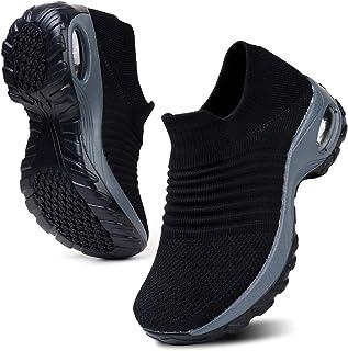 Womens Walking Tennis Shoes Slip On Light Weight Mesh Platform Air Sneakers