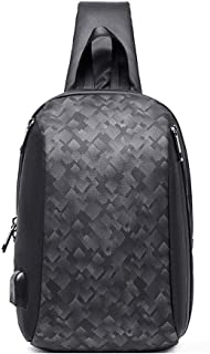 Arder Men Fashion Chest Bag Waterproof Wearable Shoulder Bag Lightweight Multifunction Diagonal Bag Scrub Relaxed (Color : Black)