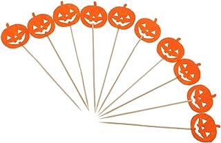 Fenteer 10x Happy Halloween Cupcake Toppers Dessert Picks Pumpkin Wizard Bat Top - Orange Pumpkin, as described