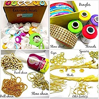 GOELX Silk Thread Jewelery-Making Fully Loaded Box With All Accessories. threads colorful Bangles,decorative chains,flower ear studs,all findings,stone lace,spacers,earring bases and lot more!!
