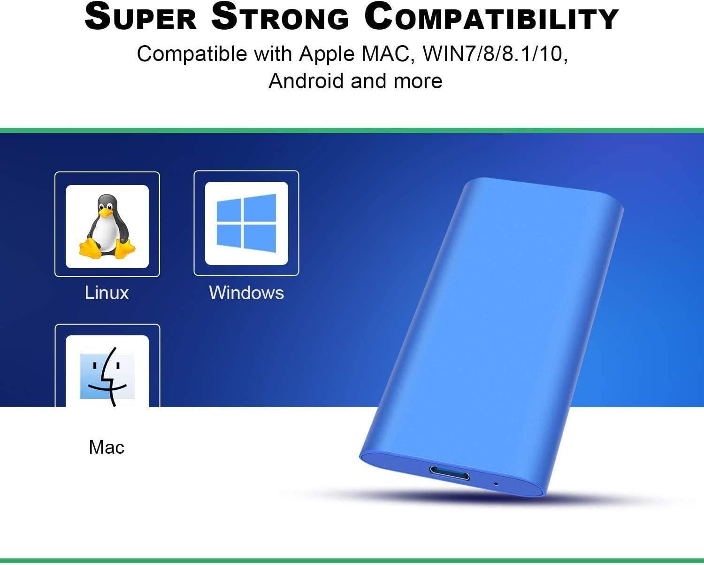 2 To, noir Genericn Disque dur externe 2 To 2 To Disque dur externe de type C//USB 2.0 pour ordinateur portable Mac
