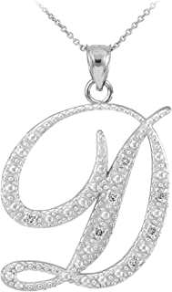 14k White Gold Diamond Script Initial Letter D Pendant Necklace
