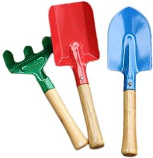 Outflower 3PCS Herramientas de jardinería Mini Pala de jardinería Mini rastrillo de jardinería Palas para niños Palas de Arena,Iron, Azul+Rojo+Verde