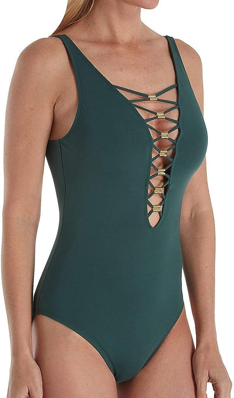 blue   Rod Beattie Women's Strappy Plunge One Piece Swimsuit Swimsuit