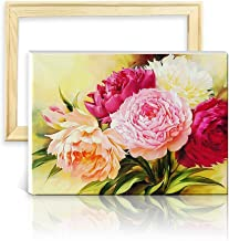 ufengke Wooden Frame Peony Flower 5D Diamond Painting Kits DIY Full Drill Diamond Embroidery Cross Stitch Sets for Beginners Craft Lovers