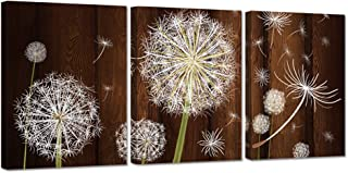 ZingArts 3 Pieces Canvas Wall Art Dandelion Flower on Brown Vintage Wood Background Neutral Floral Picture Stretched and Framed for Rustic Home Decor Ready to Hang 12x16inchx3pcs