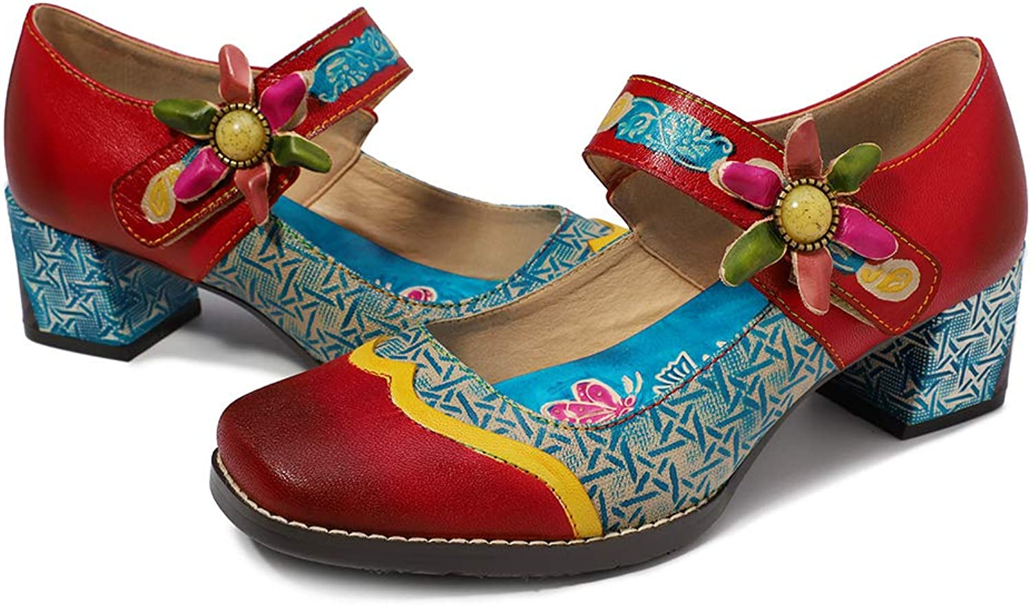 CrazycatZ Womens Leather Mary Jane shoes colorful Patchword Block Heel Pumps Vintage Mary Jane shoes