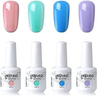 Elite99 UV LED Gel Nail Polish Varnish 15ML Soak off Nail Art Manicure Set 4 Colors with Free Gift (20pcs Gel Remover Wraps) C191