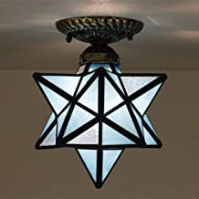Lampa sufitowa w stylu Tiffany Star do montażu podtynkowego, witrażowa mini lampa sufitowa do przedpokoju, 1 światło, vint...
