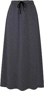 Women's Autumn Winter Fleece Lined Drawstring Elastic Waist A-Line Soft Skirt