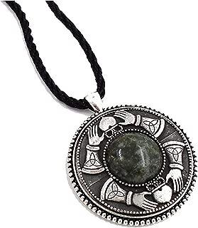 Irish Connemara Marble and Mullingar Pewter Claddagh Pendant