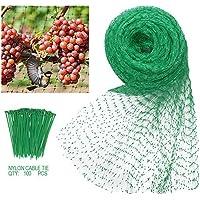 Heqishun Red Antipájaros 4x10m Malla Antipájaros Red para Pájaros con 100 Piezas de Cables Ataduras de Nylón para Huerto Jardín Estanque