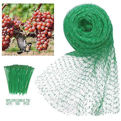 Rete per Uccelli 4X10m Rete Anti-Uccelli Maglia Anti-Uccelli Rete Antipajaros Protezione in Maglia Verde per Frutti, Colture, Piante, Alberi con 100 Pezzi Cravatta di Fascetta di Nylon