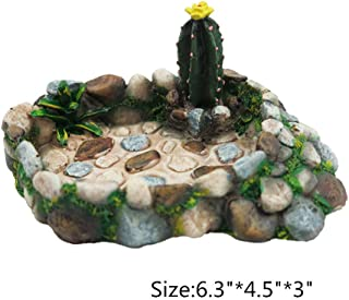 Gumolutin Resin Reptile Platform Artificial Pool Scenery Design Food Water Dish for Lizard, Gecko, Water Frog, Other Reptile (Stone)