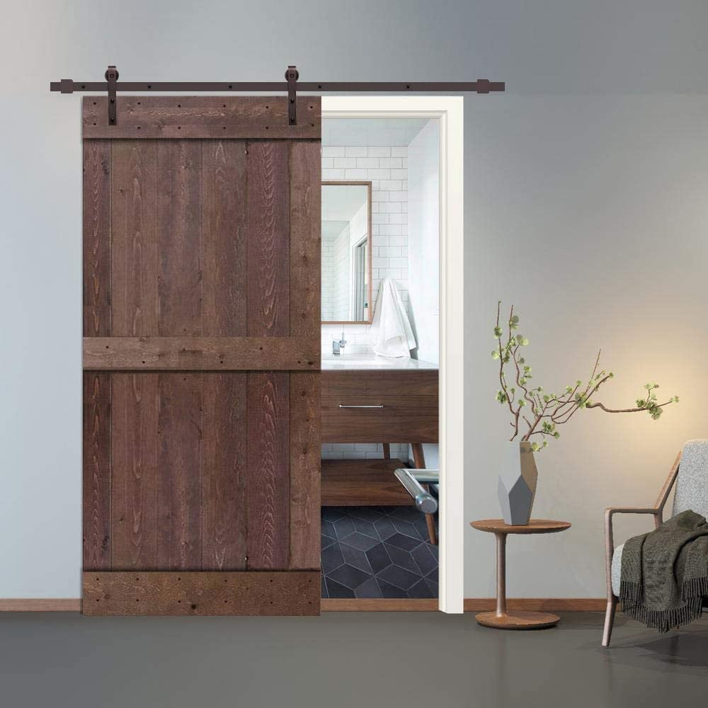 MISC 38 in X 84 Walnut OFFicial store Stained Sliding Ha with 2 Door 25% OFF Barn Panel
