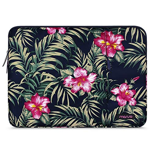 MOSISO Laptop Sleeve Compatible with 13-13.3 inch MacBook Pro, MacBook Air, Notebook Computer, Polyester Vertical Carrying Case Cover Bag with Pocket, Hibiscus Navy Blue Base