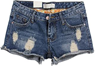 7d041a4226e3c2 Cayuan Jeans Pantaloncini Donna Estate Pantaloni Corti di Jeans con  Risvolti Distressed Denim Corto Pantalone Casuale