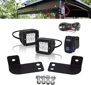 DaSen 3 Inch 18W Backup Reverse LED Light w/Wiring kit+Rear Roll Cage Spotlight Mount Bracket Fit Polaris Ranger full size 2013-2019