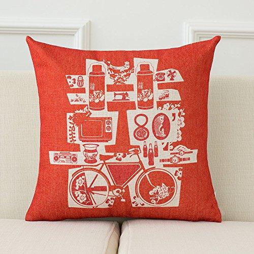 Uus Canapé de Mariage Coussin Rouge Double Happiness Words Oreiller Bureau par taie d'oreiller Coton Coussin d'ameublement en Lin 43 € 43cm (Couleur : B, Edition : Cover)
