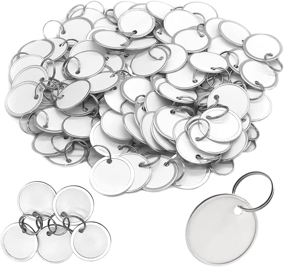 100 Pack Metal Limited Special Challenge the lowest price Price Rimmed Key Tags with Split Rings Paper Round