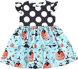 BELS Baby Girls Halloween Pumpkin Dots Printed Cartoon Princess Ruffle Sleeveless Dress