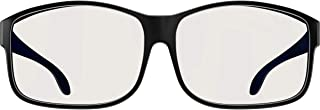 Swannies FITOVER Blue Light Blocking Glasses for Day USE with Clear Lens Wearable Over Your Readers - (Black) Large