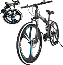 26 Inch Bikes Folding Bicycle Mountain Bike Dual Disc Brake, 21-Speed, Lightweight and Durable...