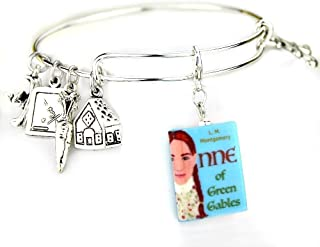 Anne of Green Gables Lucy Maud Montgomery Clay Mini Book Expandable Bangle Bracelet